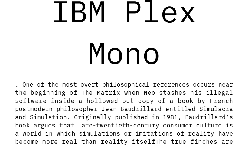 IBM Plex Mono: download for free and install for your website or